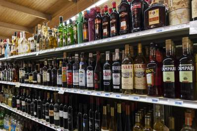 Liquor store shelves.
