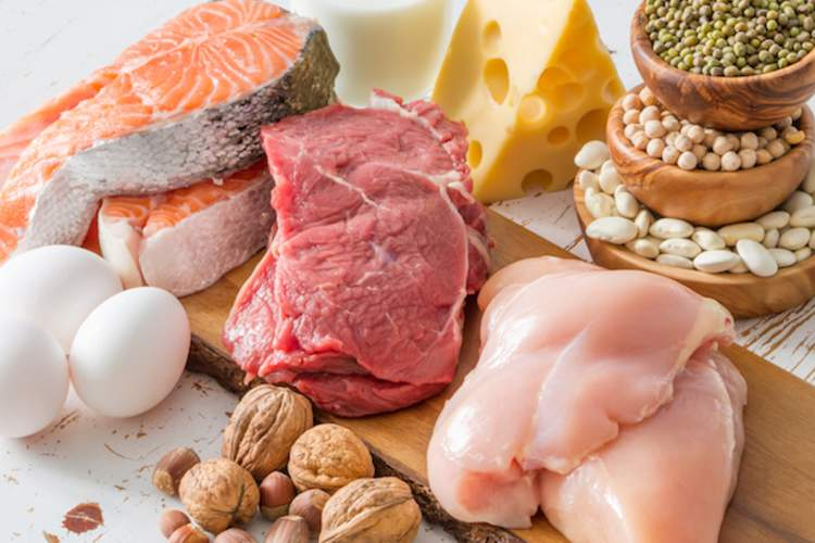 Meats, cheese, nuts, eggs, fish, and legumes are good sources of protein.