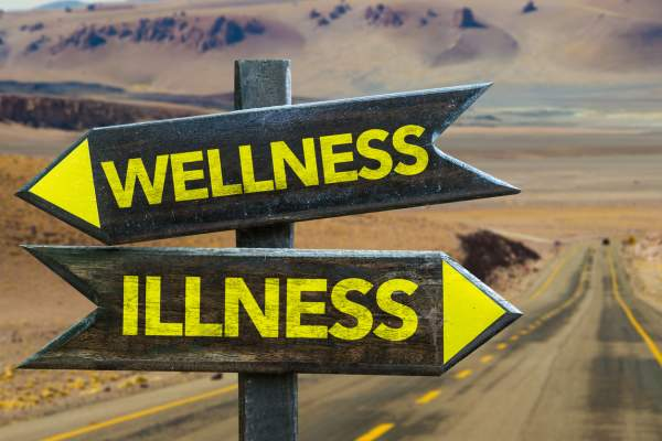 Wellness and Illness road signs.