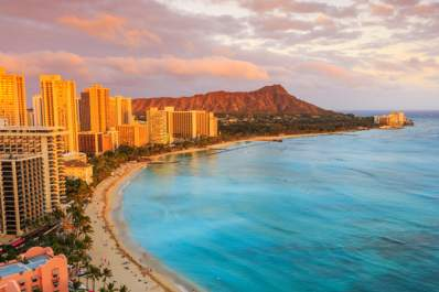 Honolulu, Hawaii over head beach photo