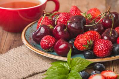 Cherries, berries, and tea.