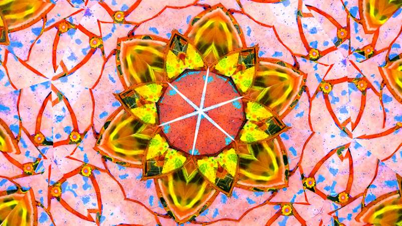 Inside of a kaleidoscope.