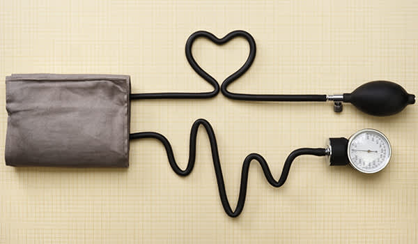 A heart and heartbeat done with a sphygmomanometer.