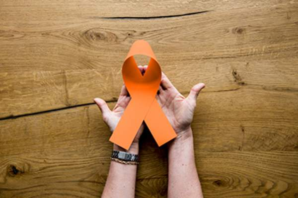 Kidney cancer awareness ribbon.