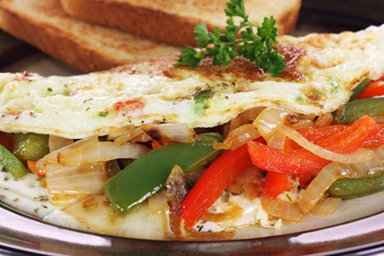 Egg white and veggie omelet with whole grain toast.