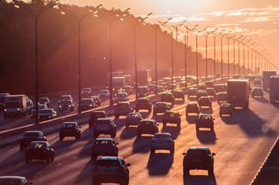 traffic at sunset