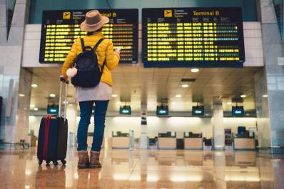 Traveler in Barcelona international airport