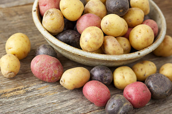 Bowl of various potatoes.