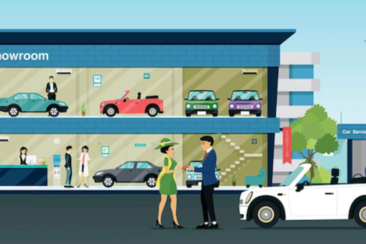 Illustration of a woman shopping for a car.