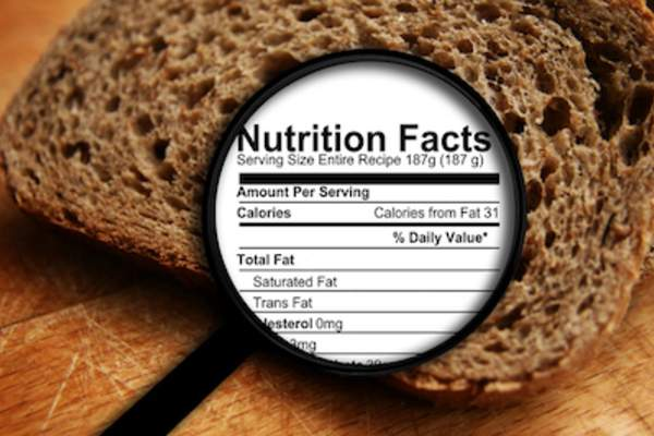 Magnifying glass over bread showing nutrition label.