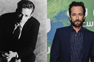 Luke Perry in 1994 on the left and in 2016 on the right.