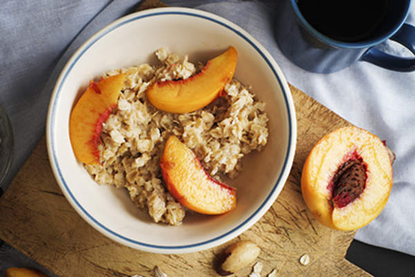 Peaches in oatmeal.