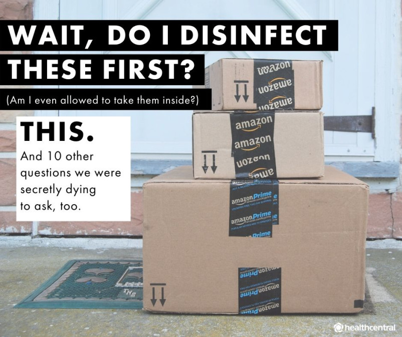 Disinfecting Amazon boxes during the coronavirus pandemic