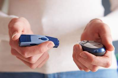 Diabetic woman checking her blood sugar levels.