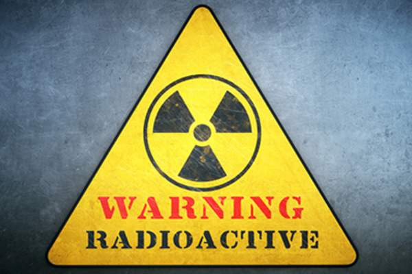 Radiation warning sign.