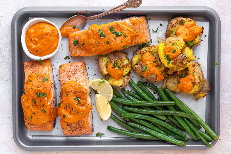Sheet Pan Salmon Romesco With Green Beans and Crushed Potatoes