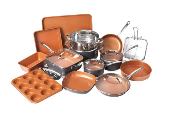 Gotham Steel 20 Piece All in One Kitchen Cookware + Bakeware Set