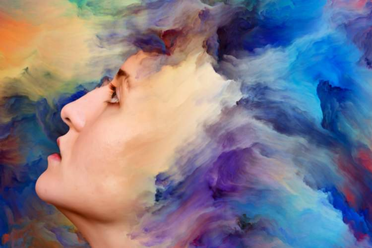 Woman with mental and emotional flow indicated by colors.