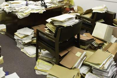 Hoarding clutter and paperwork.