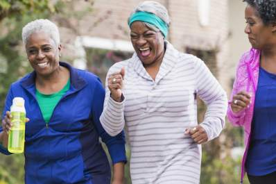 Women exercise together to control diabetes.