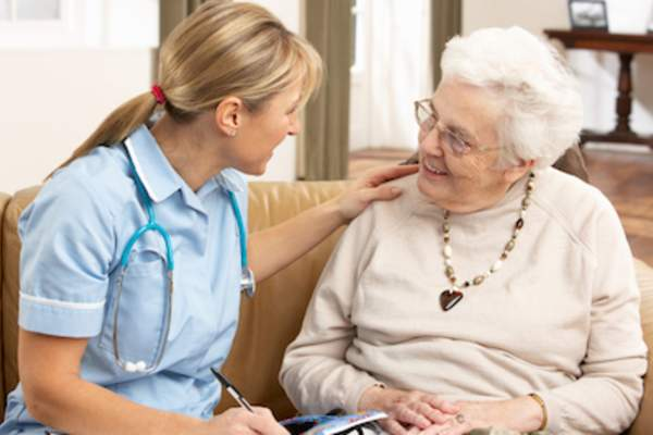 Professional home caregiver with client