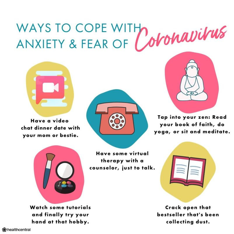 Ways to cope with anxiety and fear of the coronavirus include video chats, virtual therapy, meditation, read, and do hobbies