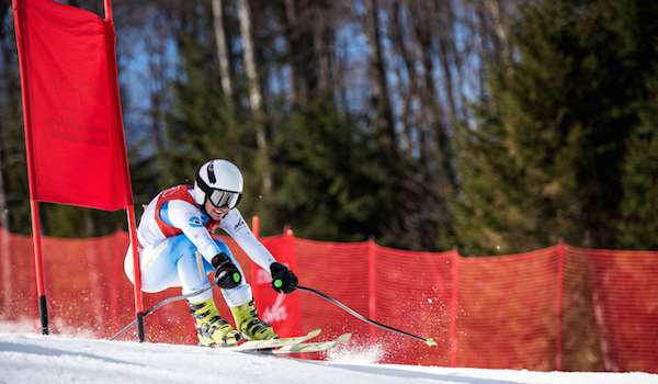 Female professional downhill skier.