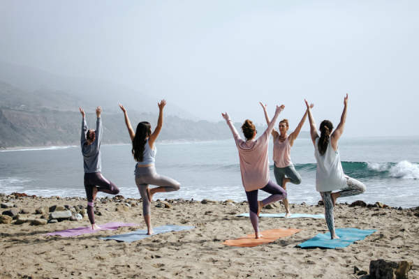 yoga class on beach