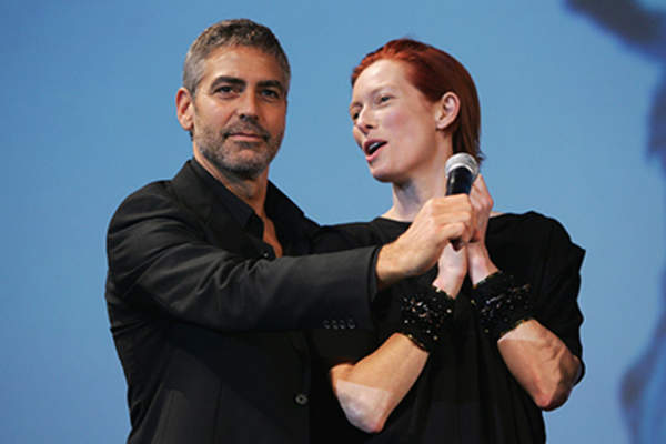 U.S. actor George Clooney and U.K. actress Tilda Swinton attend the premiere for Michael Clayton during the 33rd Deauville American Film Festival.