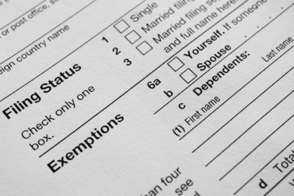 Close up of exemptions on 1040 tax form