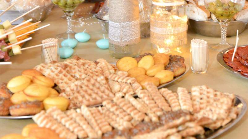 Rich holiday foods on a table.