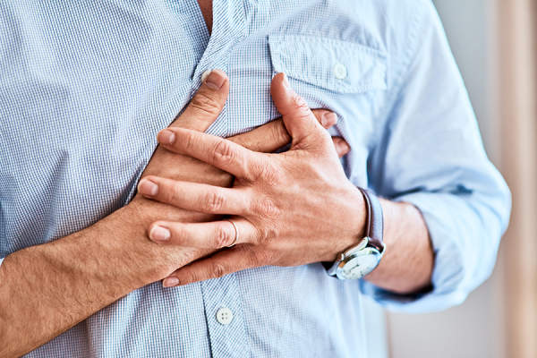 Man experiencing chest pain