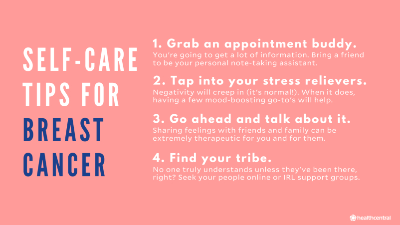 Self-Care Tips for Breast Cancer, appointment buddies, stress relievers, talk to friends and family, find support breast cancer support groups