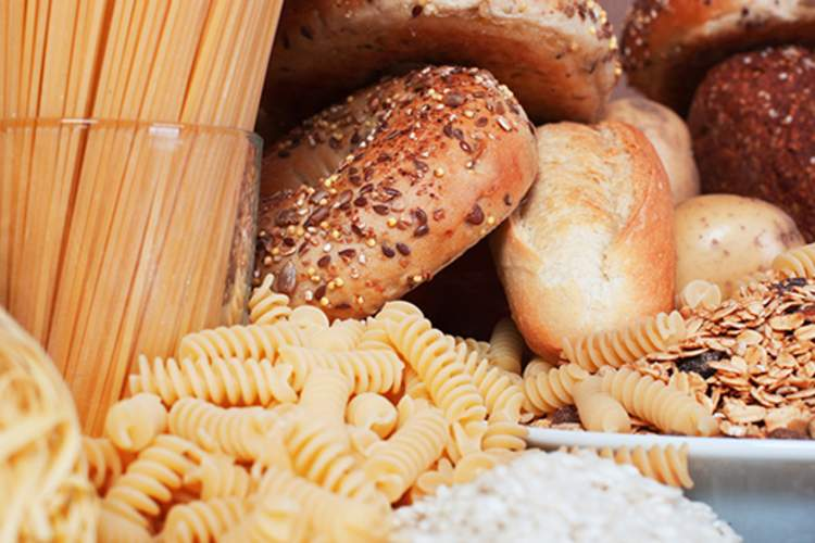 Pasta, bread, rolls, high carb foods.