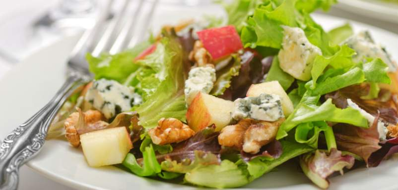 Greens with Apples, Walnuts, and Blue Cheese