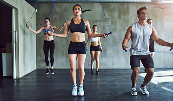 Jumping rope exercise class.