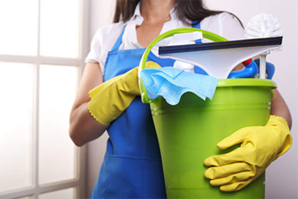Woman from cleaning service.
