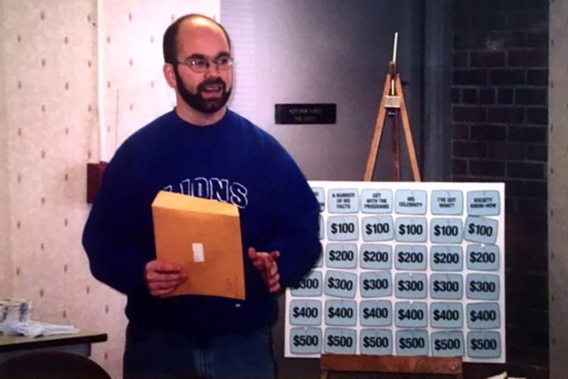 Dan leading a game of MS Jeopardy shortly after his diagnosis