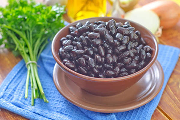 Bowl of black beans.