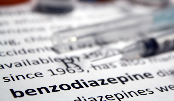 Benzodiazepine written in a medical book.