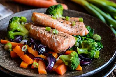 Salmon with steamed vegetables.