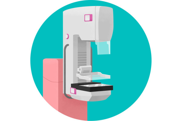 Illustration of mammogram machine