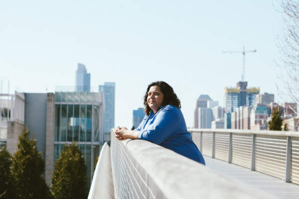 Dionna Koval enjoys the view from a pedestrian bridge
