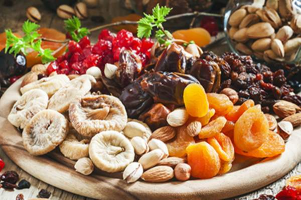 Various dried fruits and nuts.