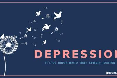 "Depression graphic reading "" It's so much more than simply feeling sad"""