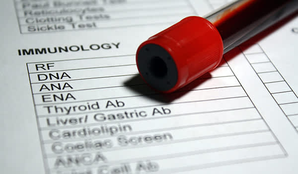 Thyroid blood test form.