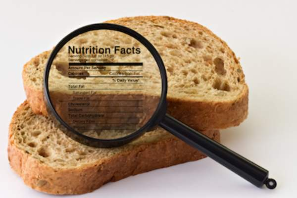 Bread with magnifying glass with nutritional information