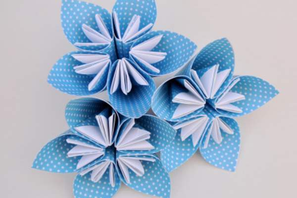 Blue and white origami flowers.