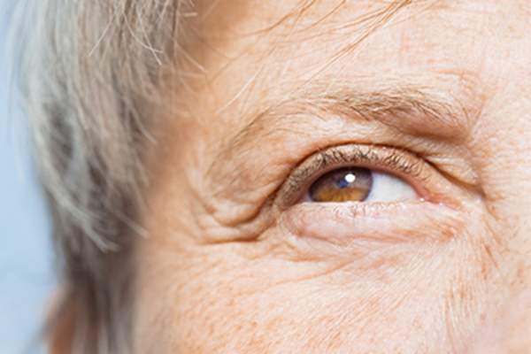 Senior woman close up of eye and face.