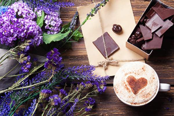 Lavender latte and chocolate.